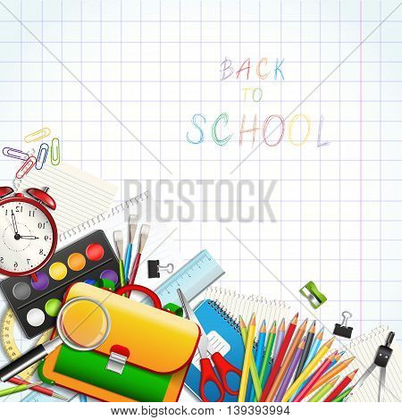 Back to school background with supplies tools on worksheet. Layered vector illustration.