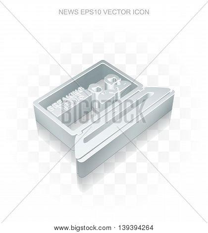 News icon: Flat metallic 3d Breaking News On Laptop, transparent shadow on light background, EPS 10 vector illustration.