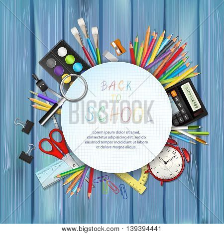 Back to school background with supplies tools and place for text. Layered vector illustration on wood background.