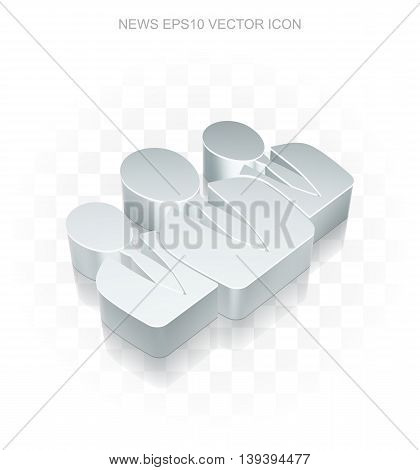 News icon: Flat metallic 3d Business People, transparent shadow on light background, EPS 10 vector illustration.