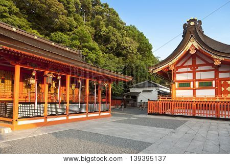 KYOTO,JAPAN- MAY 23, 2016: Fushimi Inari shrine, one of famous landmarks in Kyoto, Japan