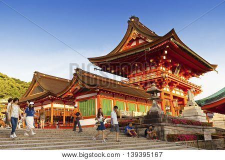 KYOTO,JAPAN- MAY 23, 2016: Fushimi Inari shrine, one of famous landmarks in Kyoto, Japan