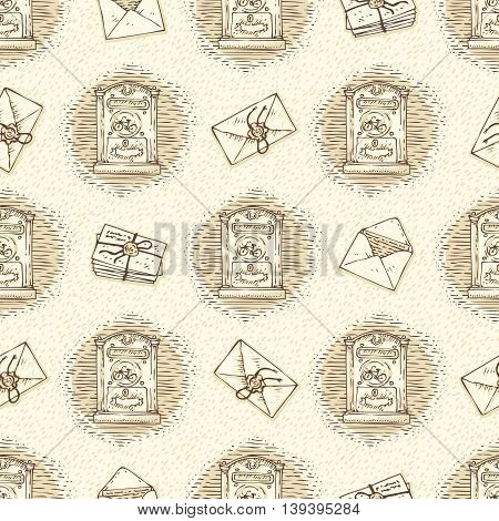 Postal Service. Mail Delivery. Seamless Vector Pattern with Envelopes, Letters and Retro Mailboxes on a Beige Background
