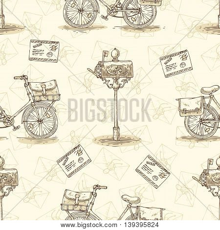 Postal Service. Mail Delivery. Seamless Pattern with Bicycles, Envelopes, Retro Mailboxes and Letters on a Beige Background