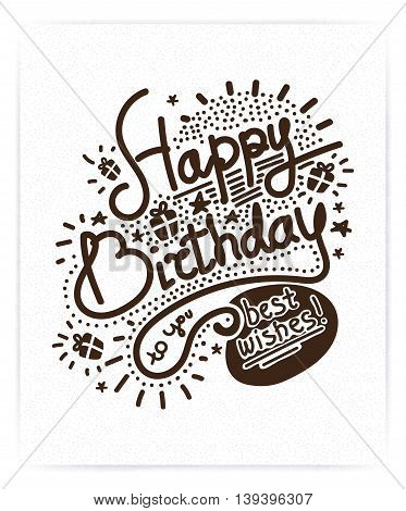 Festive Happy Birthday. Modern Retro popular design style. Vintage style 20s, 60s. Monochrome brown posters, stamps, signs. Script, sans serif fonts typography