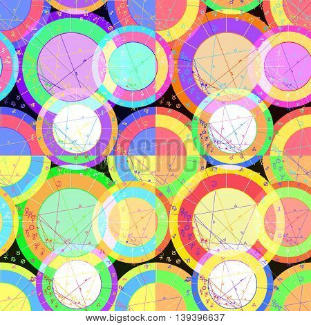 Set Of Seamless Pattern Of Natal Astrology Charts. Vector Illustration