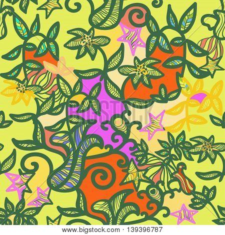 Seamless Pattern An Openwork Green. Vector Illustration