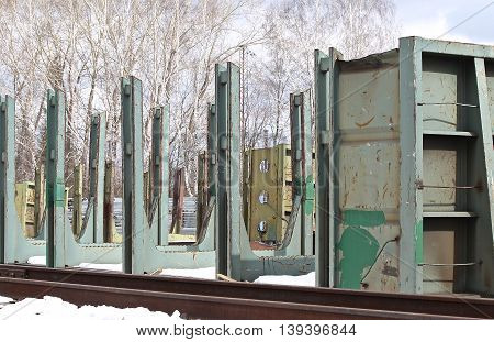 Old metal construction designed for cutting and dismantling of scrap