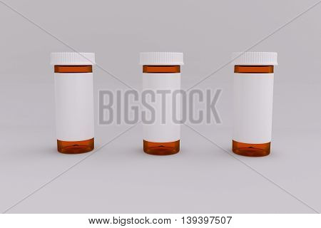 3D rendering of a set of empty labeled medical pill bottle