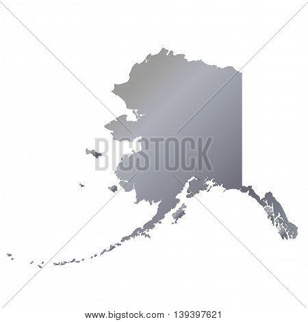 3D Alaska (USA) Aluminium outline map with shadow