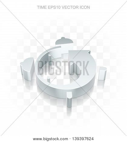 Time icon: Flat metallic 3d Alarm Clock, transparent shadow on light background, EPS 10 vector illustration.