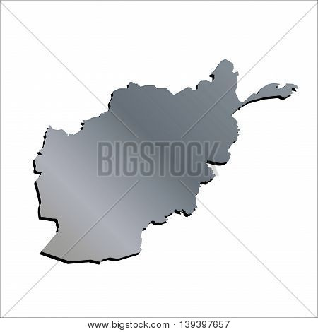 3D Vector Afghanistan Aluminium Outline Mercator Map