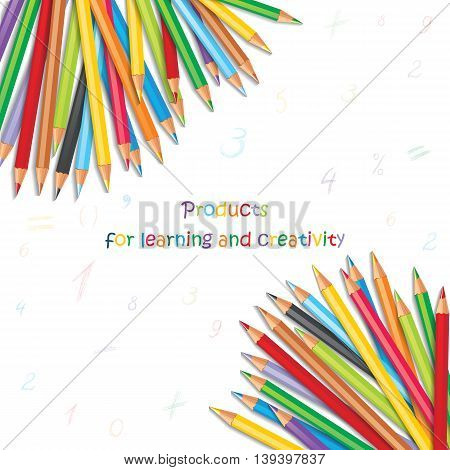 Background with colorful pencils hand-drawn numbers and mathematical symbols. Vector illustration with a place for your text