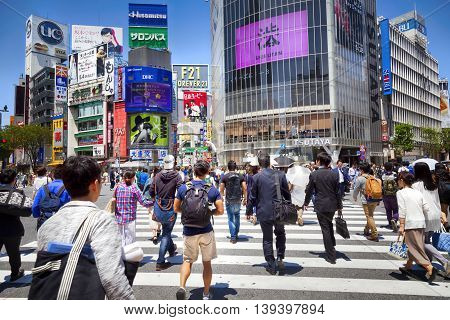 TOKYO, JAPAN - May 18, 2016: Shibuya, It's the shopping district which surrounds Shibuya railway station. This area is known as one of the fashion centers and major nightlife of Japan on May 18, 2016.
