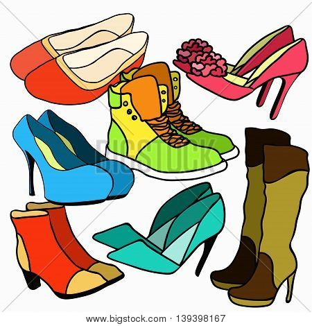 Set Of Colored Women's Shoes. Vector Illustration