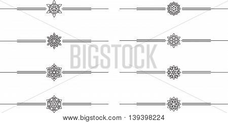 Set of 8 decorative vector mono line style text dividers
