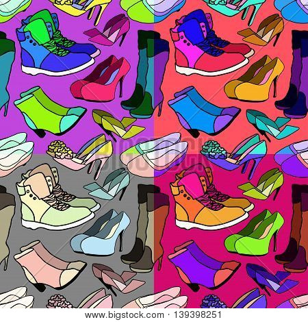 Set Of Seamless Pattern Of Women's Shoes Bright. Vector Illustration