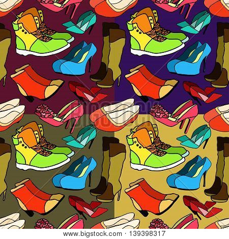 Set Seamless Pattern Of Female Footwear. Vector Illustration