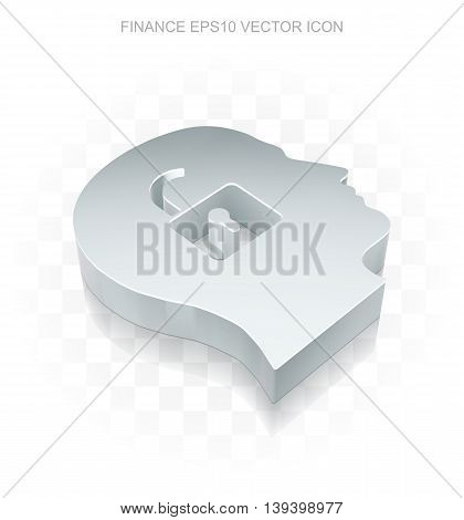 Finance icon: Flat metallic 3d Head With Padlock, transparent shadow on light background, EPS 10 vector illustration.