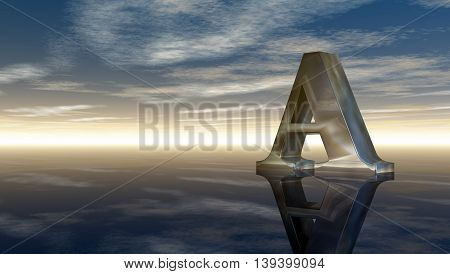 metal uppercase letter a under cloudy sky - 3d illustration