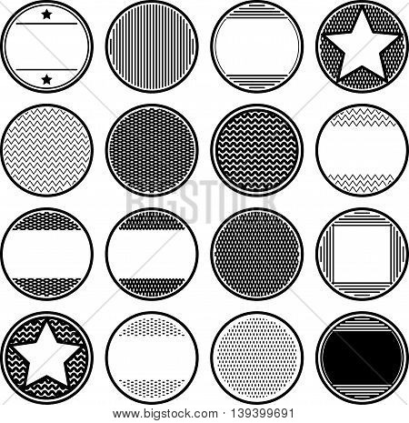 Big set of solid black templates for rubber stamps