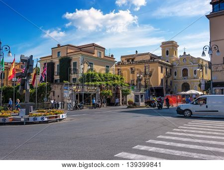 Sorrento, Italy - June 11, 2016: Central square in the village of Sorrento Italy on the Amalfi Coastline.