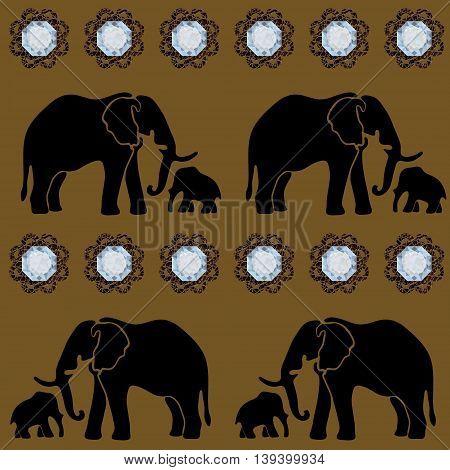 Seamless illustration. Gems. Elephant Template wallpaper wrapper