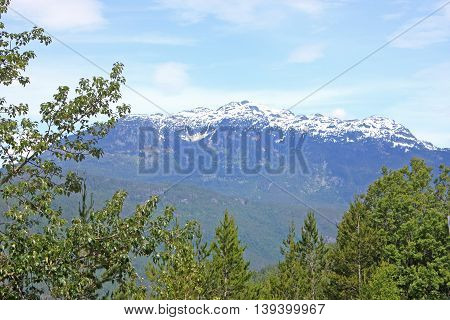 Snow on the Coastal Mountains in British Columbia