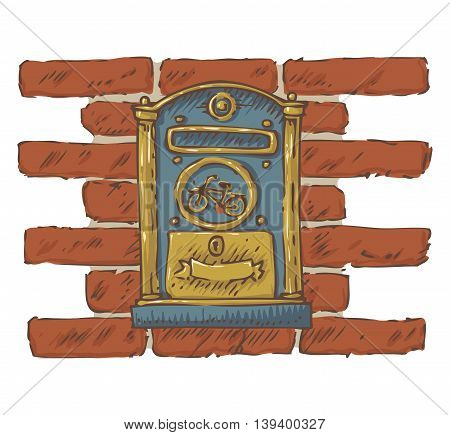 Postal Service.Mail Delivery. Blue Retro Mailbox with Golden Decor on a Red Brick Wall. Isolated on a White