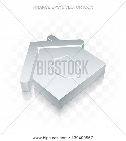 Finance icon: Flat metallic 3d Home, transparent shadow on light background, EPS 10 vector illustration.