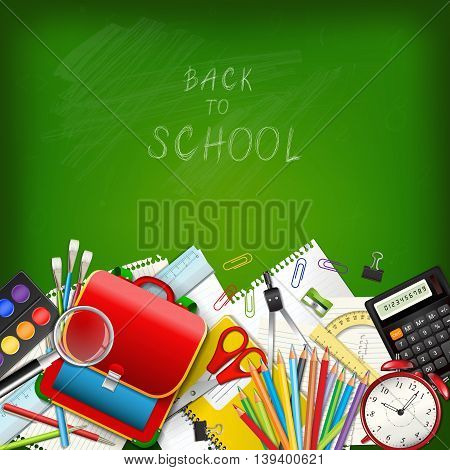 Back to school background with supplies tools on green classroom chalkboard. Place for your text. Layered realistic vector illustration.