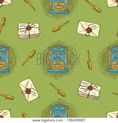 Postal Service. Seamless Vector Pattern with Envelopes, Letters, Retro Mailboxes and Ink Pens on a Green Background