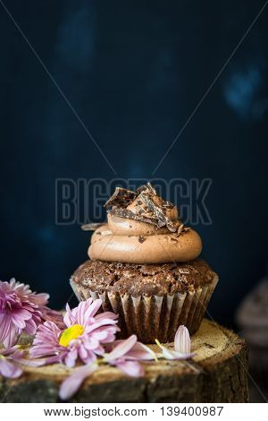 Chocolate cupcake with chocolate frosting and shredded chocolate
