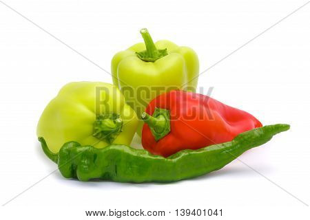 The few peppers on a white background