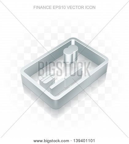 Finance icon: Flat metallic 3d Credit Card, transparent shadow on light background, EPS 10 vector illustration.