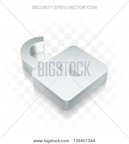 Safety icon: Flat metallic 3d Opened Padlock, transparent shadow on light background, EPS 10 vector illustration.