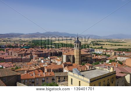 Cityscape with rooftop and Church of Santiago in the medieval old town of Avila Spain