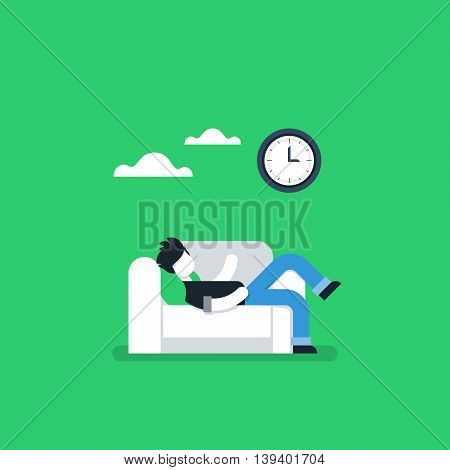 Procrastination concept, lazy man on sofa, couch potato, tired person, lying down on back, passive time spending