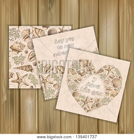 Set of banners with vintage Marine pattern and posters. Seashells corals and starfishes. Hand drawn vector illustration in sketch style on wood background. Use for invitations and design.