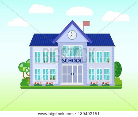 School. Buildings for city construction. Set of elements to create urban background, village and town landscape. Flat style vector illustration.