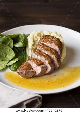 Pan seared duck magret with baby spinach salad and celery puree