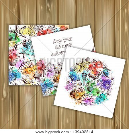 Set of banners with vintage Marine pattern and posters. Seashells corals and starfishes. Imitation of watercolor spots.Hand drawn vector illustration in sketch style on wood background.