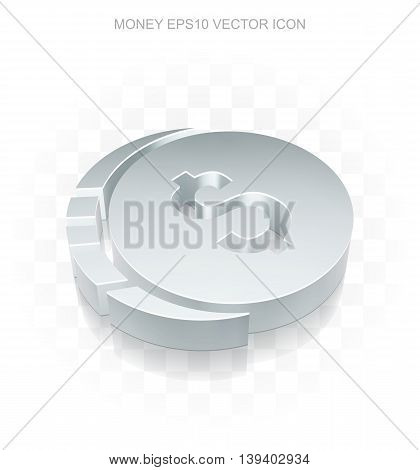 Currency icon: Flat metallic 3d Dollar Coin, transparent shadow on light background, EPS 10 vector illustration.