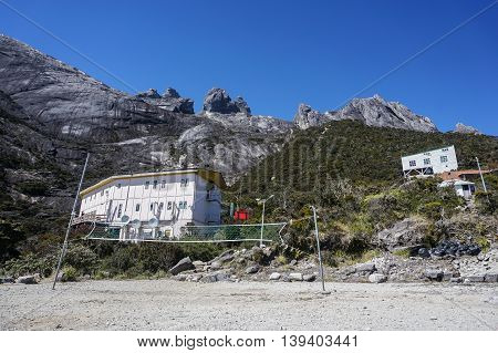 Ranau Sabah Malaysia-March 12, 2016:Laban Rata hostel built at 3,273 meter above sea level. The hostel is provided for climbers to rest before summiting the mount peak.