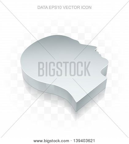 Data icon: Flat metallic 3d Head, transparent shadow on light background, EPS 10 vector illustration.