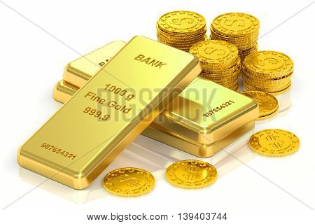 Gold ingots and coins 3D rendering isolated on white background