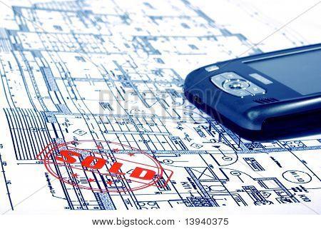 planos arquitectónicos con bolsillo