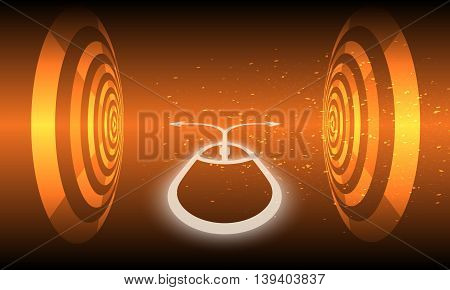 Vector futuristic background with circular objects ana abstract mouse