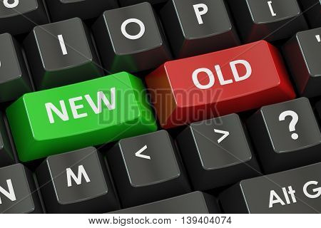 New and Old concept on the black keyboard 3D rendering