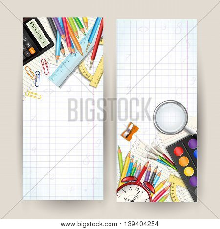 Set of two Back to school vertical banners. Templates with supplies tools. Place for your text. Layered realistic vector illustration.